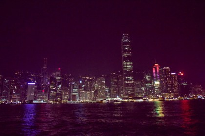 Hong Kong by ferry at night