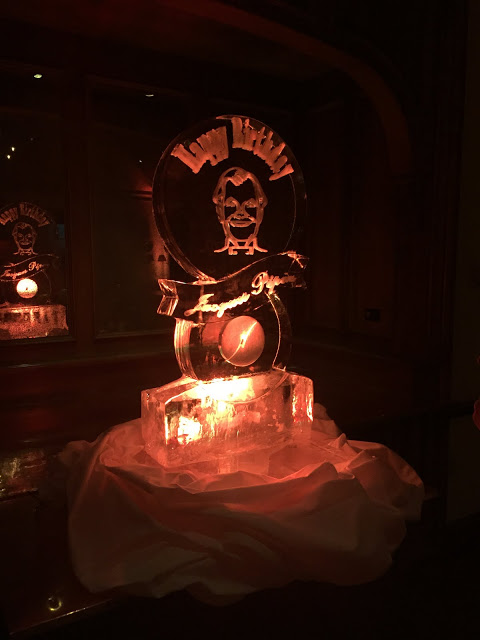In the back room atop the mountain: ice sculpture tribute to Jacques Pepin, who was at the F&W Publishers Party for his 80th birthday