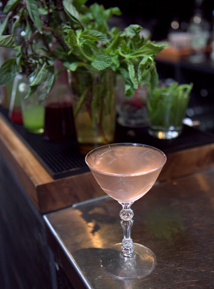 Another beautiful drink, Smoke Pit ($12), combines dry vemouths with a touch of Del Maguey mezcal and cherry shrub