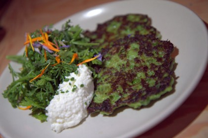 Firefly's fava pea pancakes