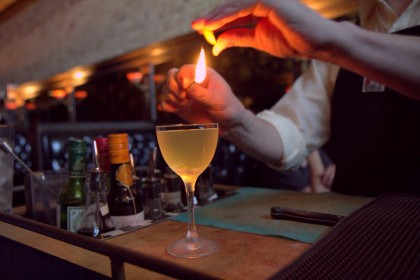 Some cocktails are prepared tableside, like this
