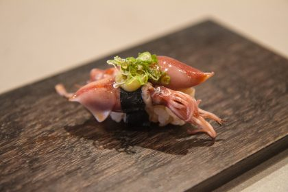 Juicy, baby firefly squid (hotaru ika) in green onion and mustard miso