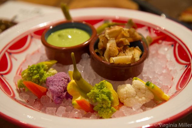 Bellota's mercado crudite in raw, pickled & chip form with herb garlic dip