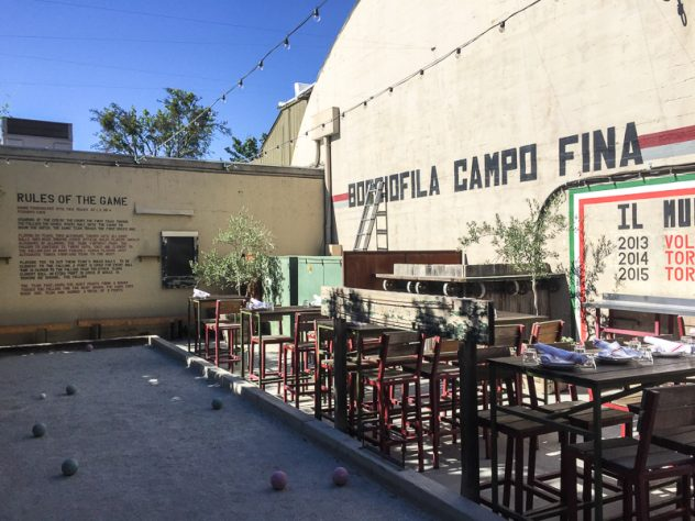 Campo Fina's back patio and bocce ball