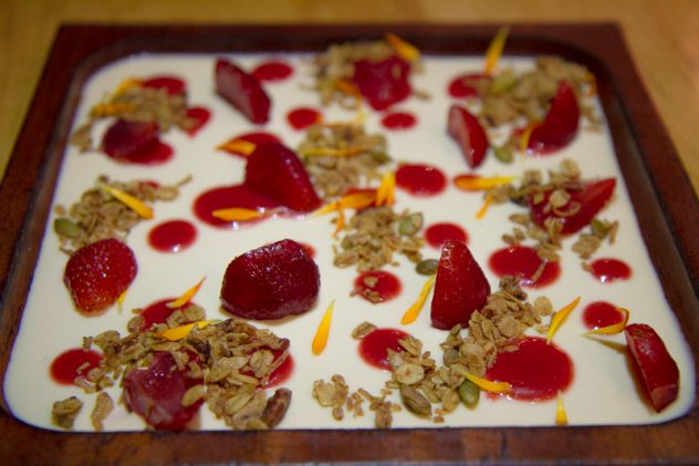Striking, light dessert: Toasted milk custard with strawberries and toasted oats ($14)