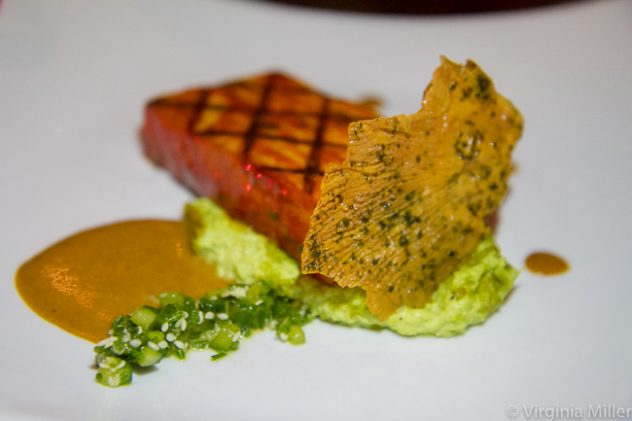 """Vedge's gochujang grilled tofu ($15) over edamame """"hummus"""" accented by roasted miso & yuba cracklin"""