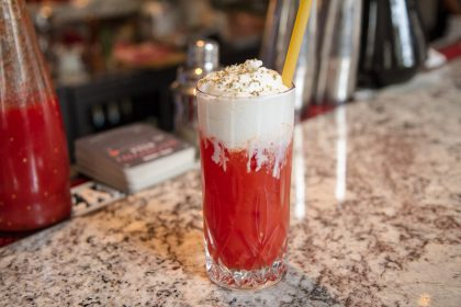 Burrata foam topped, Rutte Gin & San Marzano tomato cocktail at 54 Mint