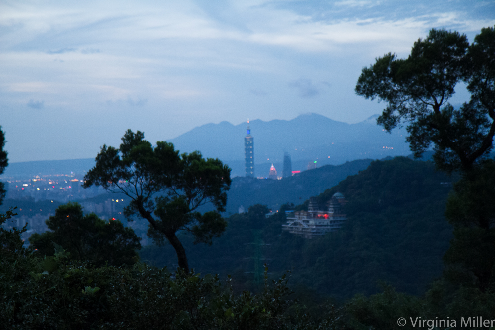 View of the Taipei 101 tower and downtown Taipei from the tea houses up in the hills of Maokong, Taipei