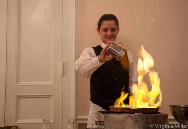 Bananas Foster flambeed tableside at Broussard's